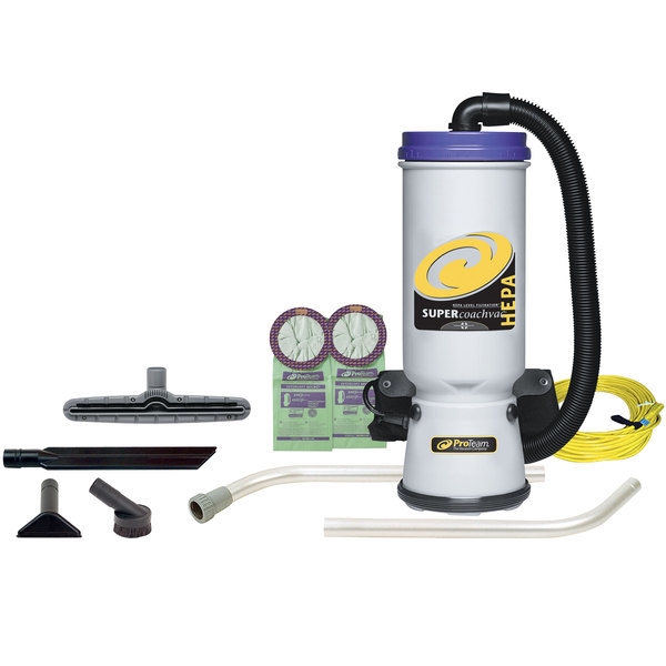 ProTeam 107104 10 Qt. Super CoachVac HEPA Backpack Vacuum Cleaner with 107097 Xover Performance Floor Tool Kit A - 120V