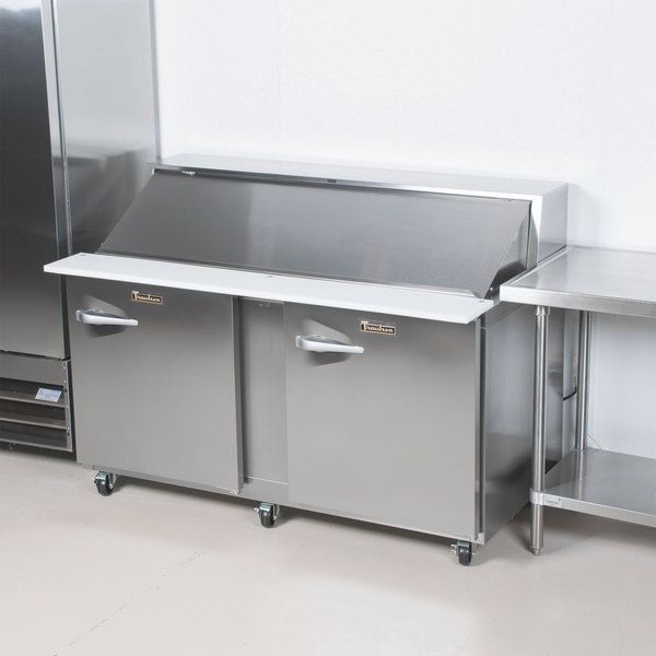 """Traulsen UPT7230-RR-SB 72"""" 2 Right Hinged Door Stainless Steel Back Refrigerated Sandwich Prep Table"""
