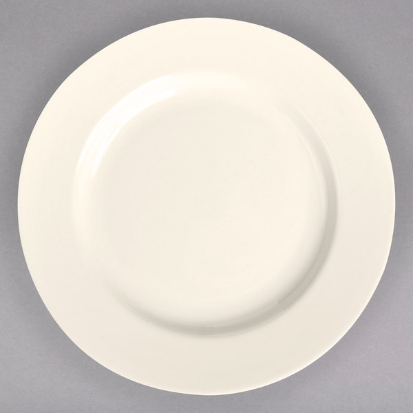 """Homer Laughlin 20800 11 1/8"""" Ivory (American White) Rolled Edge China Plate - 12/Case"""