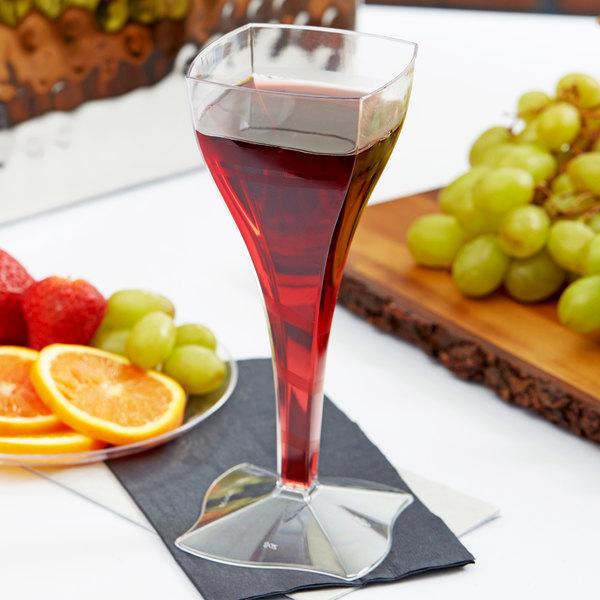 Fineline Wavetrends 1208 Clear Plastic 8 oz. 1-Piece Wine Glass - 72/Case