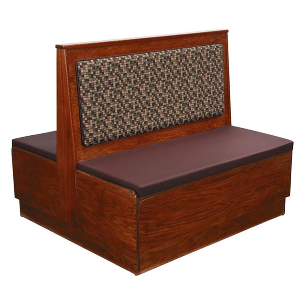 """American Tables & Seating AD42-W-PS-D Plain Back Platform Seat Double Deuce Wood Booth - 42"""" High"""
