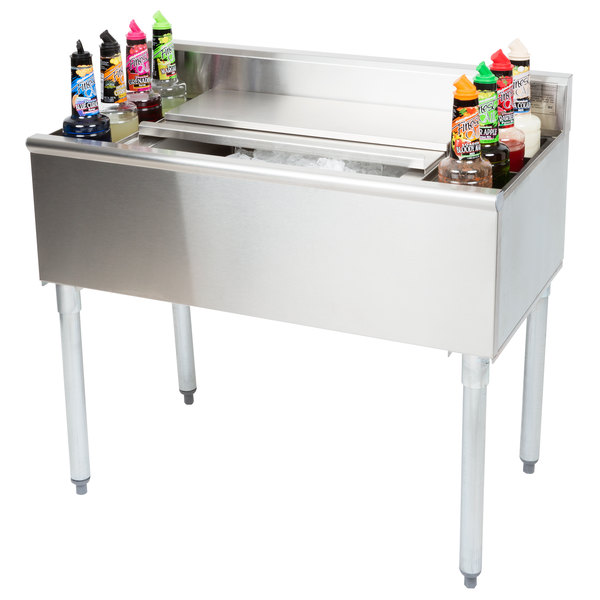 """Eagle Group B3CT-16D-22 36"""" Underbar Cocktail / Ice Bin with Eight Bottle Holders"""