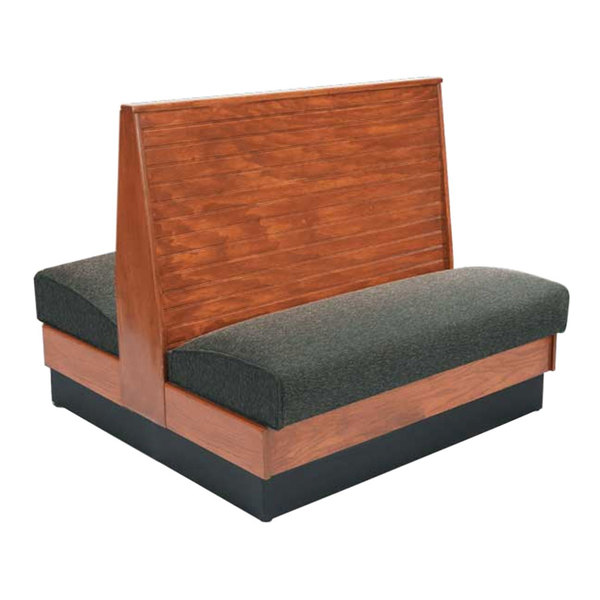 "American Tables & Seating AD42-WBB-SS Bead Board Back Standard Seat Double Wood Booth - 42"" High"