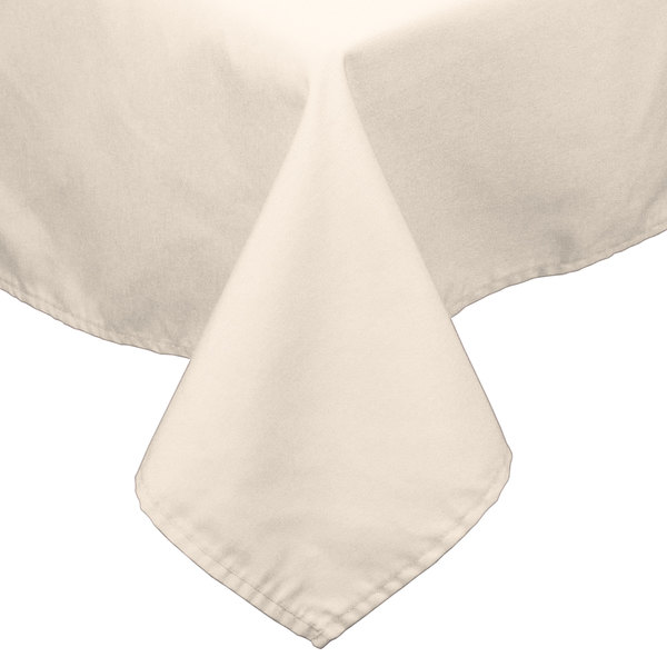 "45"" x 120"" Ivory 100% Polyester Hemmed Cloth Table Cover"