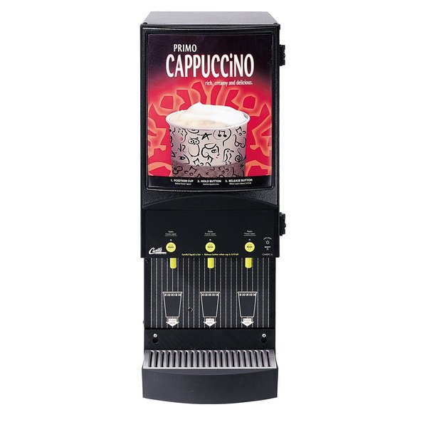 Curtis Cafe Series Primo PC3 Three Station Cappuccino Machine with Three 4 lb. Hoppers and Sign - 120V Main Image 1