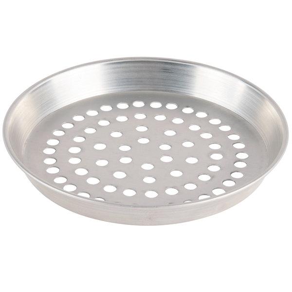 "American Metalcraft SPADEP7 7"" x 1"" Super Perforated Standard Weight Aluminum Tapered / Nesting Deep Dish Pizza Pan"