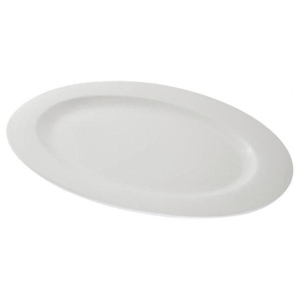 """10 Strawberry Street WTR-18OV Whittier 18 1/4"""" x 12 3/4"""" White Oval Porcelain Platter - 4/Case"""