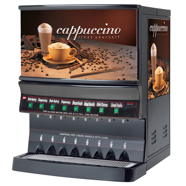 Cecilware GB8MP10-LD-U Panorama Series Eight Hopper Powdered Cappuccino Dispenser with Illuminated Vertical Lift Front - 120V