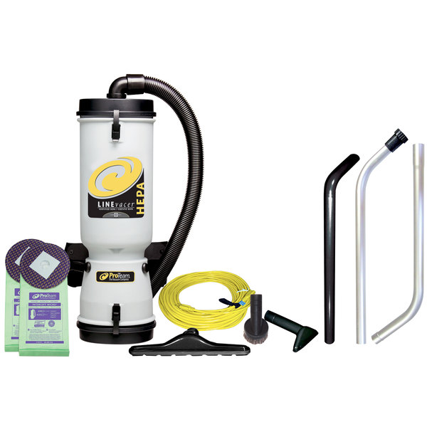 ProTeam 100277 10 Qt. LineVacer Backpack Vacuum Cleaner with HEPA filtration and 100163 High Filtration Vac Kit - 120V