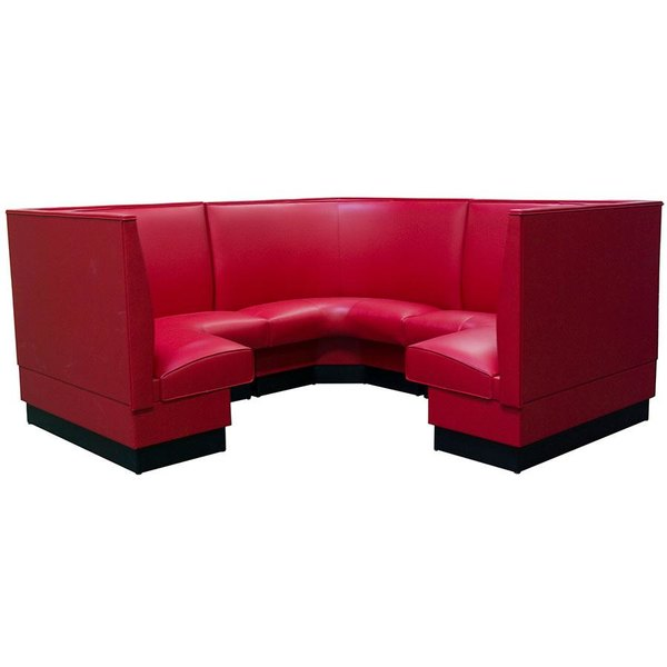 "American Tables & Seating AS-48-3/4 Plain Fully Upholstered Corner Booth 3/4 Circle - 48"" High"