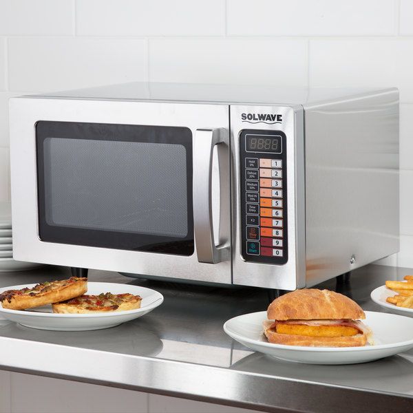 Solwave Stainless Steel Commercial Microwave with Push Button Controls - 120V, 1000W