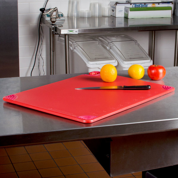 "San Jamar CBG182412RD 18"" x 24"" x 1/2"" Saf-T-Grip Red Cutting Board with Hook"