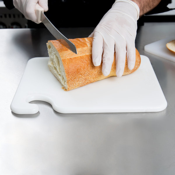 """San Jamar CB101212WH Cut-N-Carry® 12"""" x 10"""" x 1/2"""" White Cutting Board with Hook Main Image 2"""