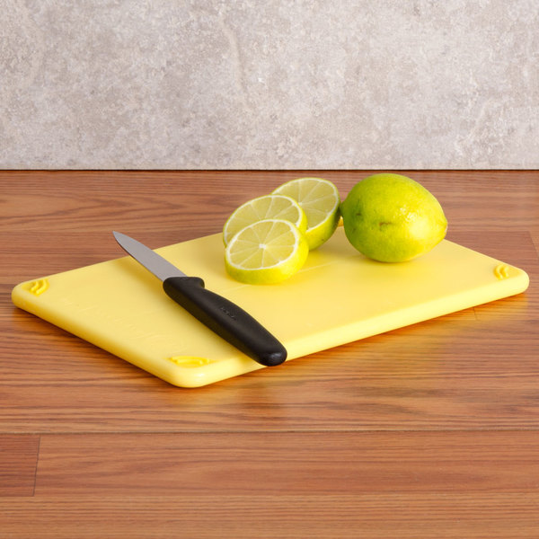 "San Jamar CBG152012YL 15"" x 20"" x 1/2"" Saf-T-Grip Yellow Cutting Board with Hook"