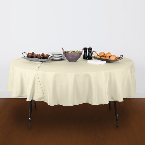 """90"""" Round Ivory 100% Polyester Hemmed Cloth Table Cover"""