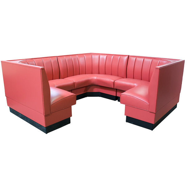 """American Tables & Seating AS-4812-3/4 12 Channel Back Upholstered Corner Booth 3/4 Circle - 48"""" High"""
