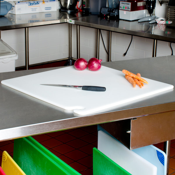 """San Jamar CB242434WH Cut-N-Carry® 24"""" x 24"""" x 3/4"""" White Cutting Board with Hook Main Image 2"""