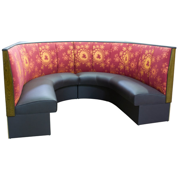 """American Tables & Seating AS-483-1/2 3 Channel Back Upholstered Corner Booth 1/2 Circle - 48"""" High"""