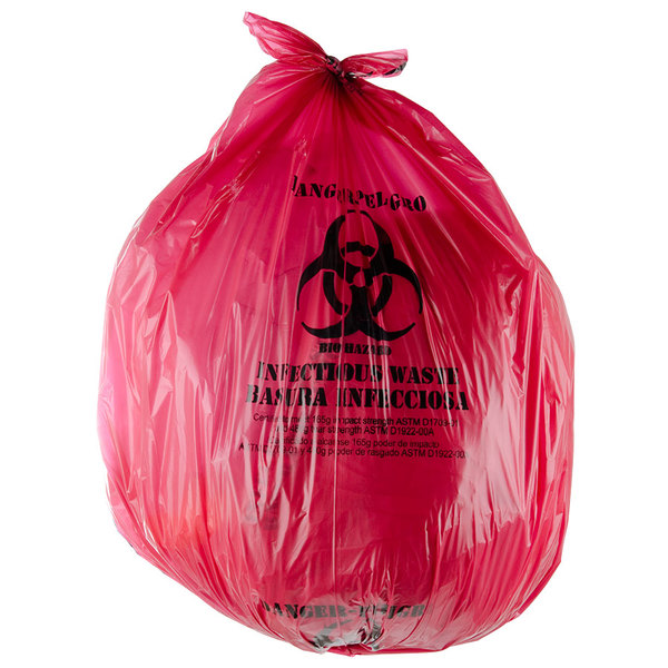 """40-45 Gallon 40"""" X 47"""" Red Isolation Infectious Waste Bag / Biohazard Bag Linear Low Density 1.2 Mil - 100/Case"""