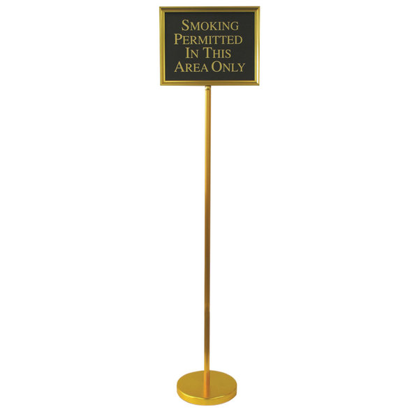 "Aarco TI1B Gold Aluminum 59"" Changeable Hostess / Teller Sign with 12 Messages"