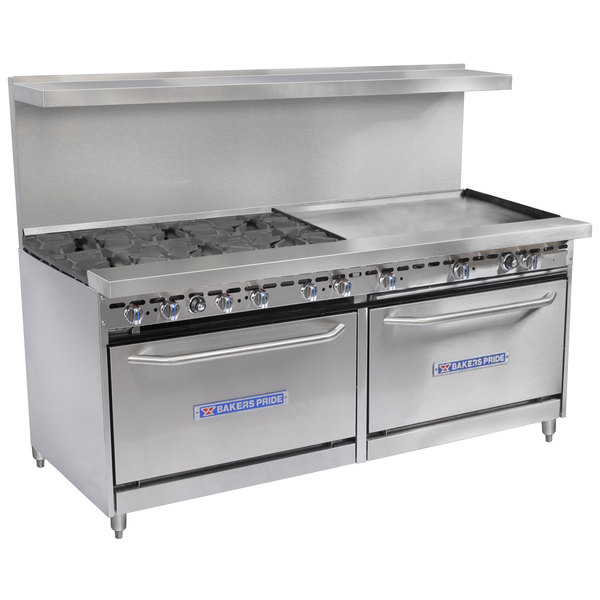 Bakers Pride Restaurant Series 72-BP-6B-G36-S30 Natural Gas 6 Burner Range with Two Standard 30 inch Ovens and 36 inch Griddle