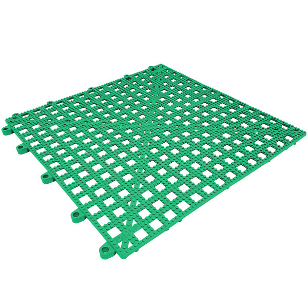 "Cactus Mat 2554-GT Dri-Dek 12"" x 12"" Kelly Green Vinyl Interlocking Drainage Floor Tile - 9/16"" Thick"