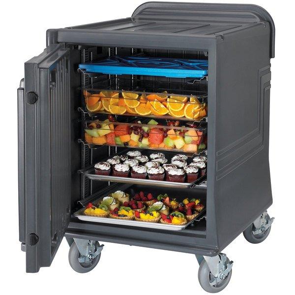 Cambro CMBPLHD Charcoal Gray Non-Electric Combo Cart Plus with Heavy Duty Casters and Security Package Low Profile