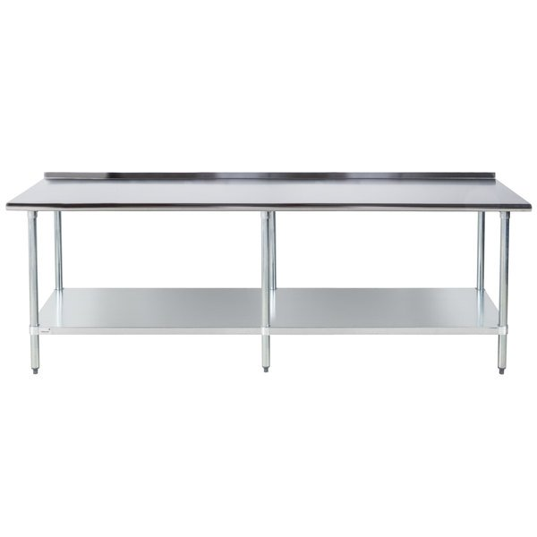 """Advance Tabco FLAG-308-X 30"""" x 96"""" 16 Gauge Stainless Steel Work Table with 1 1/2"""" Backsplash and Galvanized Undershelf"""