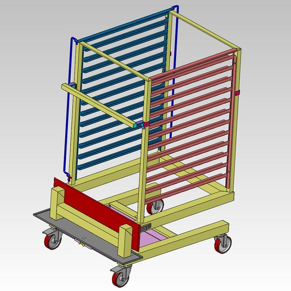 Alto-Shaam UN-27968 Roll-In Pan Cart Trolley for 12.20MW, 12.20W, 12-20es, and QC-50 Models - Holds 70 Plates Main Image 1