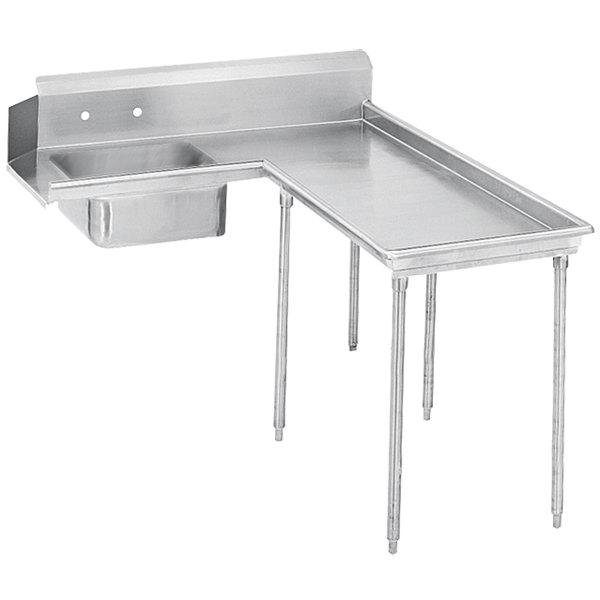 Right Table Advance Tabco DTS-G60-84 7' Super Saver Stainless Steel Soil L-Shape Dishtable