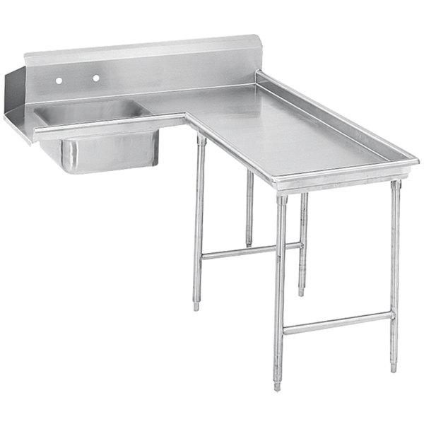 Right Table Advance Tabco DTS-G30-72 6' Spec Line Stainless Steel Soil L-Shape Dishtable