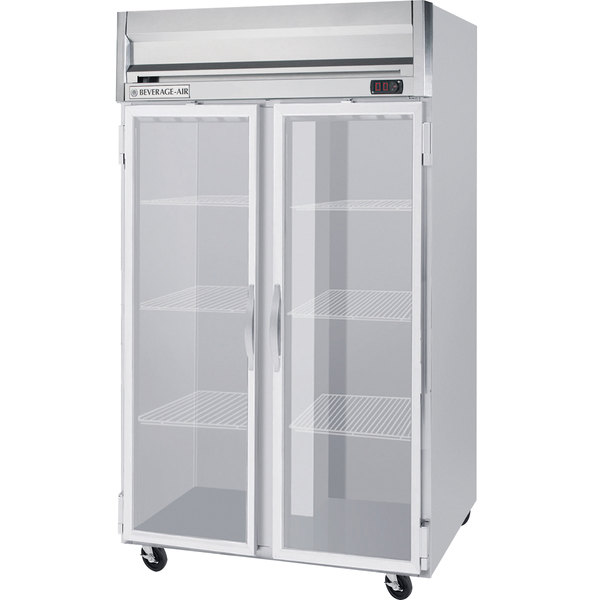 """Beverage-Air HFS2-1G Horizon Series 52"""" Glass Door Reach-In Freezer with Stainless Steel Interior and LED Lighting Main Image 1"""