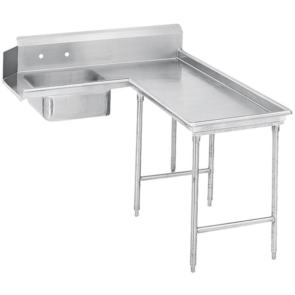 Right Table Advance Tabco DTS-G70-120 10' Standard Stainless Steel Soil L-Shape Dishtable