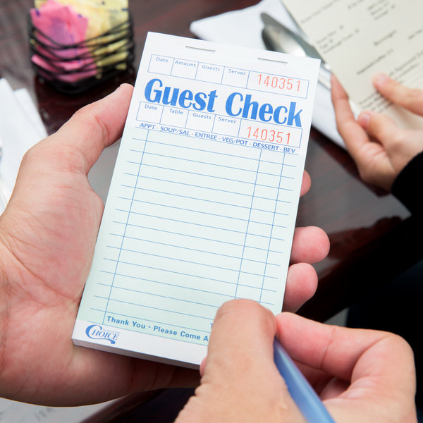 Choice 1 Part Green and White Guest Check with Beverage Lines and Top Guest Receipt - 10/Pack