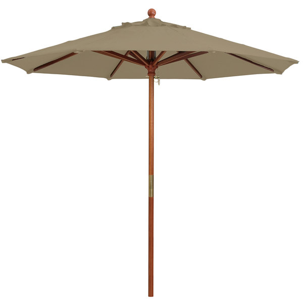 "Grosfillex 98918131 9' Taupe Market Umbrella with 1 1/2"" Wooden Pole Main Image 1"
