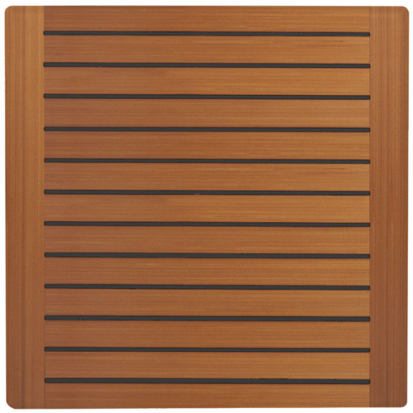 "Grosfillex 99841108 32"" x 32"" Teak Decor Square Molded Melamine Outdoor Table Top"