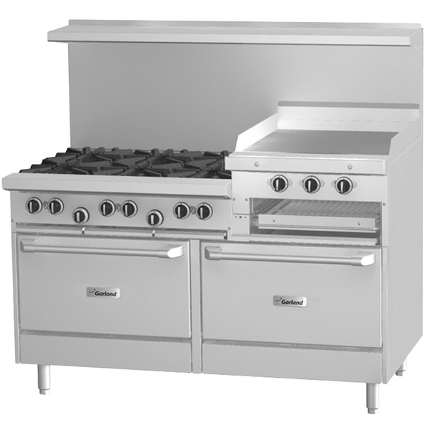 "Garland G60-6R24CS Liquid Propane 6 Burner 60"" Range with 24"" Raised Griddle / Broiler, Convection Oven, and Storage Base - 269,000 BTU Main Image 1"