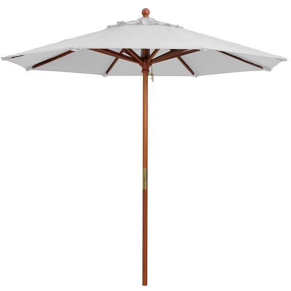 "Grosfillex 98910431 9' White Market Umbrella with 1 1/2"" Wooden Pole"