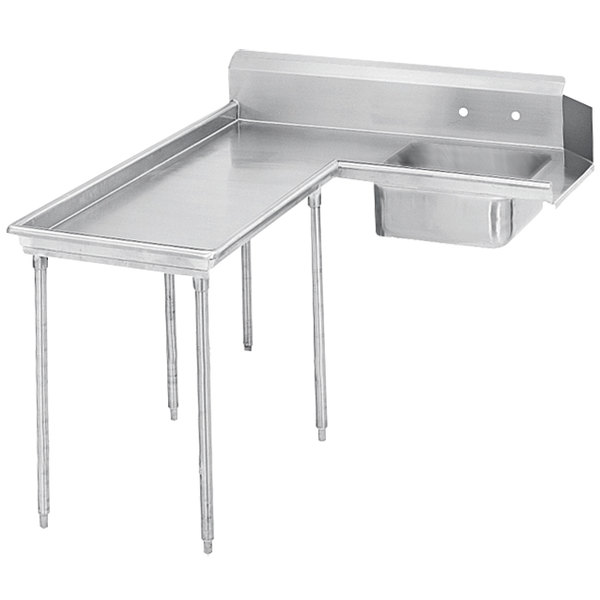 Left Table Advance Tabco DTS-G60-108 9' Super Saver Stainless Steel Soil L-Shape Dishtable