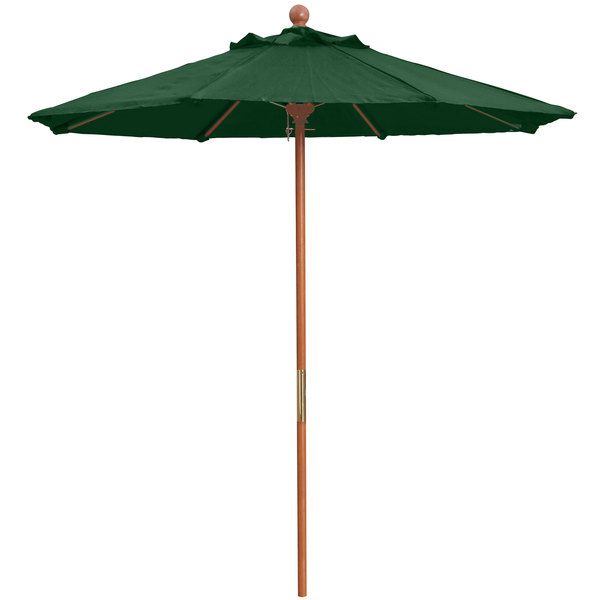 "Grosfillex 98942031 7' Forest Green Market Umbrella with 1 1/2"" Wooden Pole"