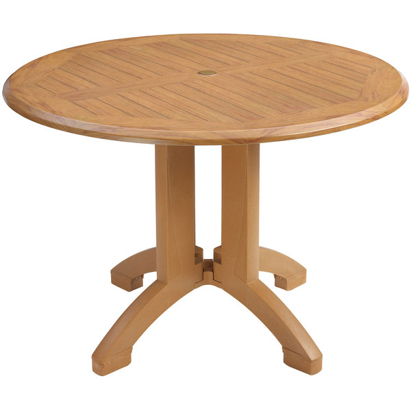 "Grosfillex US240608 Winston 42"" Teak Decor Round Molded Melamine Pedestal Table with Umbrella Hole"
