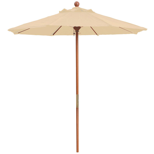 "Grosfillex 98944831 7' Sand Market Umbrella with 1 1/2"" Wooden Pole"