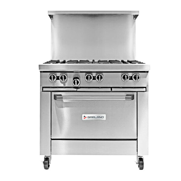 """Garland G36-4G12C Natural Gas 4 Burner 36"""" Range with 12"""" Griddle and Convection Oven - 188,000 BTU Main Image 1"""