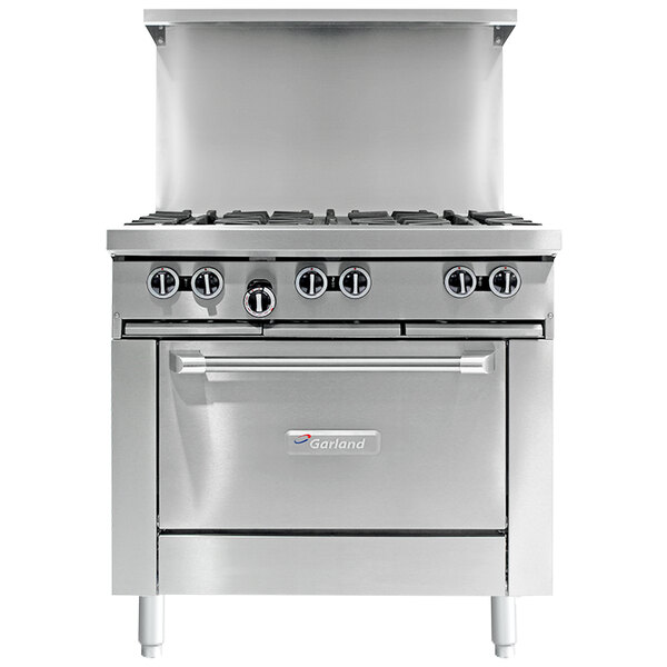 """Garland G36-2G24C Natural Gas 2 Burner 36"""" Range with 24"""" Griddle and Convection Oven - 140,000 BTU Main Image 1"""