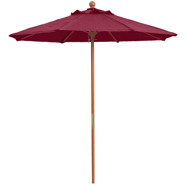 "Grosfillex 98942731 7' Burgundy Market Umbrella with 1 1/2"" Wooden Pole"