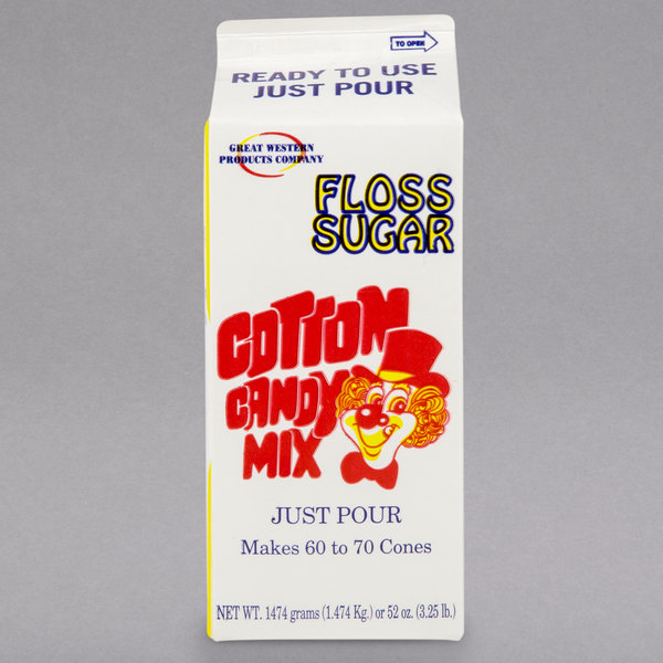 Great Western 1/2 Gallon Carton Pink Bubble Gum Cotton Candy Floss Sugar - 6/Case