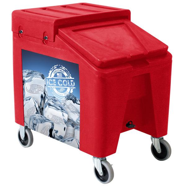 IRP 5075 Red Ice Caddy II 140 lb. Mobile Ice Bin / Beverage Merchandiser