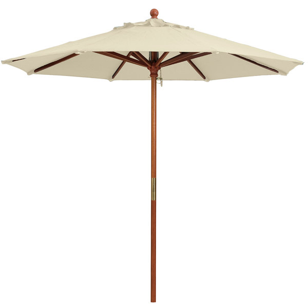"Grosfillex 98910331 9' Khaki Market Umbrella with 1 1/2"" Wooden Pole"