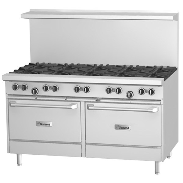 "Garland G60-10CS Liquid Propane 10 Burner 60"" Range with Convection Oven and Storage Base - 368,000 BTU Main Image 1"