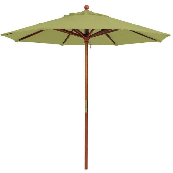 "Grosfillex 98914931 9' Pesto Market Umbrella with 1 1/2"" Wooden Pole"